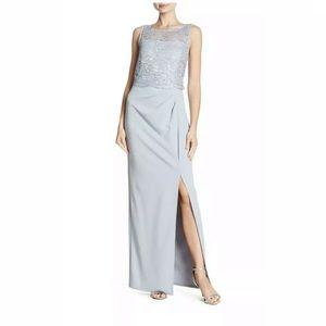 MARINA Blue Womens Size 12 Crochet Lace Floral Sli